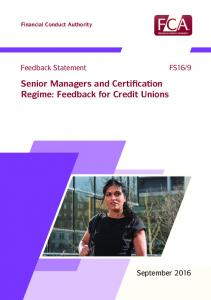 Senior Managers and Certification Regime: Feedback for Credit Unions