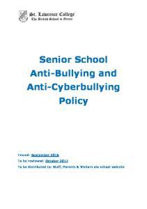 Senior School Anti-Bullying and Anti-Cyberbullying Policy