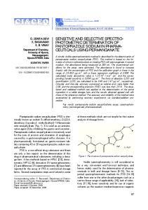 SENSITIVE AND SELECTIVE SPECTRO- PHOTOMETRIC DETERMINATION OF PANTOPRAZOLE SODIUM IN PHARMA- CEUTICALS USING PERMANGANATE