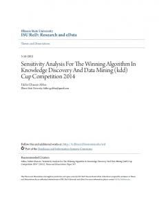 Sensitivity Analysis For The Winning Algorithm In Knowledge Discovery And Data Mining (kdd) Cup Competition 2014