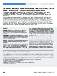 Sensitivity, Specificity, and Positivity Predictors of the Pneumococcal Urinary Antigen Test in Community-Acquired Pneumonia