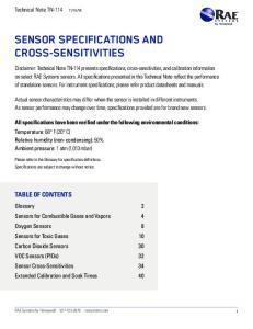 SENSOR SPECIFICATIONS AND CROSS-SENSITIVITIES