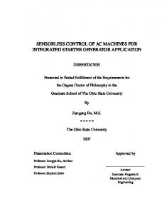 SENSORLESS CONTROL OF AC MACHINES FOR INTEGRATED STARTER GENERATOR APPLICATION