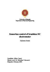 Sensorless control of brushless DC electromotor