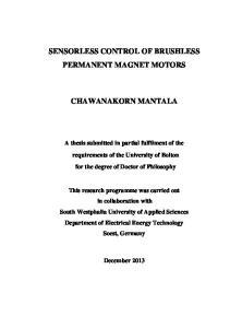 SENSORLESS CONTROL OF BRUSHLESS PERMANENT MAGNET MOTORS CHAWANAKORN MANTALA