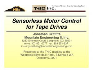 Sensorless Motor Control for Tape Drives
