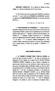 SENTENCIA DEFINITIVA.- En la Ciudad de Pachuca de Soto Hidalgo, a 21 veintiuno de Noviembre de 2012 dos mil doce