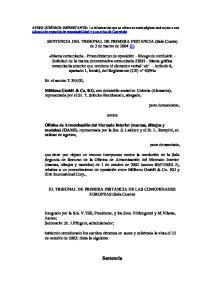 SENTENCIA DEL TRIBUNAL DE PRIMERA INSTANCIA (Sala Cuarta) de 3 de marzo de 2004 (1)