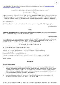 SENTENCIA DEL TRIBUNAL DE PRIMERA INSTANCIA (Sala Cuarta) de 15 de octubre de 2003 (1)