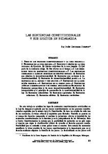 SENTENCIAS CONSTITUCIONALES Y SUS EFECTOS EN NICARAGUA