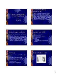 Sentinel Node Biopsy - Breast Cancer. Problems and Pitfalls of Sentinel Node Biopsy. Sentinel Lymph node Biopsy. Indications for SLNB