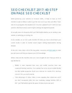 SEO CHECKLIST 2017: 40-STEP ON PAGE SEO CHECKLIST