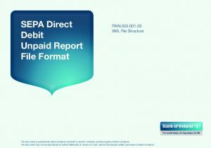 SEPA Direct Debit Unpaid Report File Format