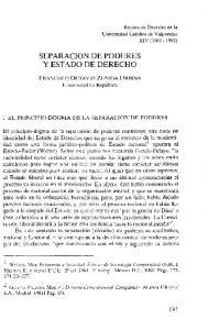 SEPARACION DE PODERES Y ESTADO DE DERECHO