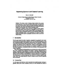 Separating Quantum and Classical Learning