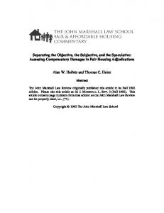 Separating the Objective, the Subjective, and the Speculative: Assessing Compensatory Damages in Fair Housing Adjudications
