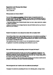 Separation and Divorce Info Sheet