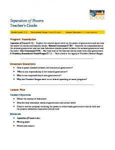 Separation of Powers Teacher s Guide