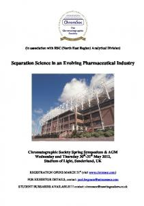 Separation Science in an Evolving Pharmaceutical Industry