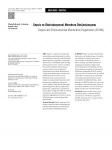 Sepsis ve Ekstrakorporeal Membran Oksijenizasyonu Sepsis and Extracorporeal Membrane Oxygenation (ECMO)