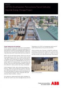 SEPTA s (Southeastern Pennsylvania Transit Authority) Wayside Energy Storage Project
