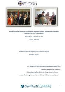 September 28 - October 10, Yerevan, Armenia. Professional Fellows Program (PFP) Outbound Project. Narrative Report