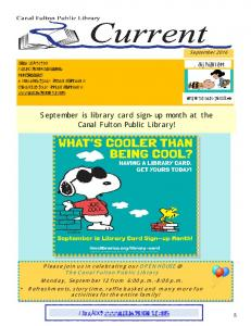 September is library card sign-up month at the Canal Fulton Public Library!