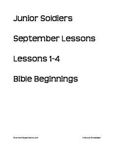 September Lessons. Bible Beginnings