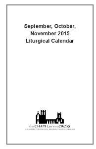 September, October, November 2015 Liturgical Calendar