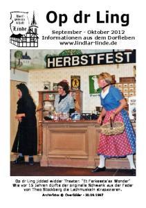September - Oktober 2012 Informationen aus dem Dorfleben