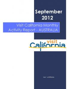 September Visit California Monthly Activity Report - AUSTRALIA. Gate 7 - AUSTRALIA