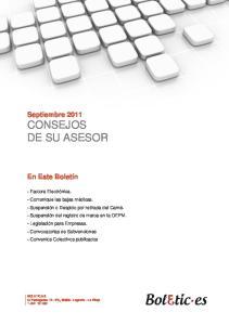 Septiembre 2011 CONSEJOS DE SU ASESOR