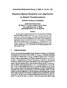 Sequence Spaces Equations and Application to Matrix Transformations
