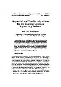 Sequential and Parallel Algorithms for the Shortest Common Superstring Problem