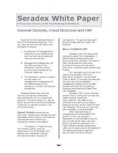 Seradex White Paper. Internal Controls, Fraud Detection and ERP