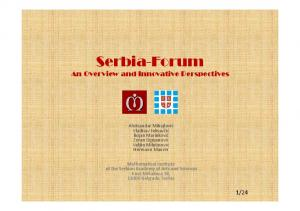 Serbia-Forum. An Overview and Innovative Perspectives