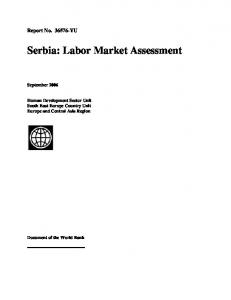 Serbia: Labor Market Assessment