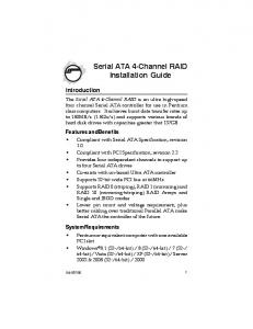 Serial ATA 4-Channel RAID Installation Guide