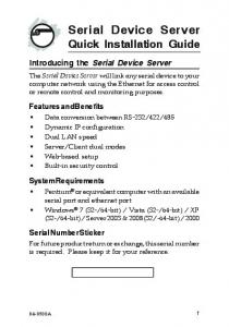 Serial Device Server Quick Installation Guide