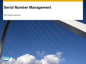 Serial Number Management. SAP Best Practices