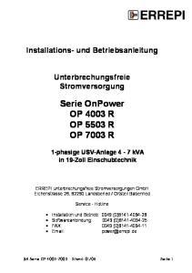 Serie OnPower OP 4003 R OP 5503 R OP 7003 R