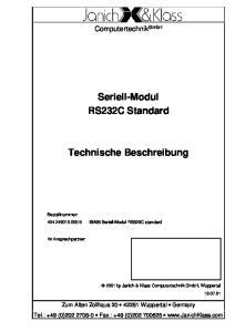 Seriell-Modul RS232C Standard. Technische Beschreibung