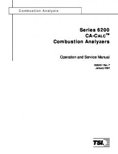 Series 6200 CA-CALC TM Combustion Analyzers