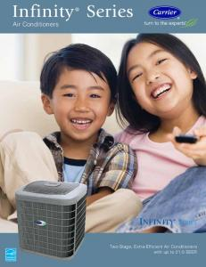 Series. Air Conditioners. Two-Stage, Extra-Efficient Air Conditioners with up to 21.0 SEER. Infinity