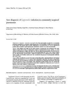 Sero diagnosis of Legionella infection in community acquired pneumonia