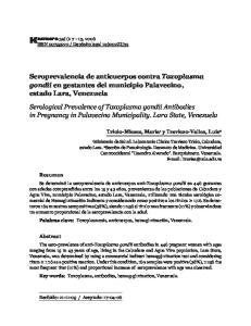 Seroprevalencia de anticuerpos contra Toxoplasma gondii en gestantes del municipio Palavecino, estado Lara, Venezuela