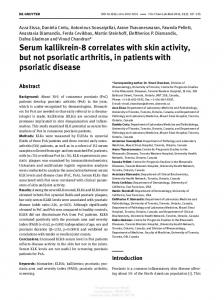 Serum kallikrein-8 correlates with skin activity, but not psoriatic arthritis, in patients with psoriatic disease