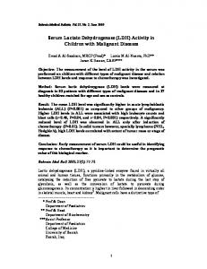 Serum Lactate Dehydrogenase (LDH) Activity in Children with Malignant Diseases