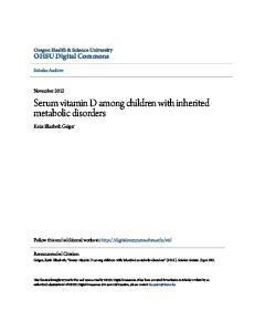 Serum vitamin D among children with inherited metabolic disorders
