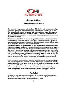 Service Advisor Policies and Procedures